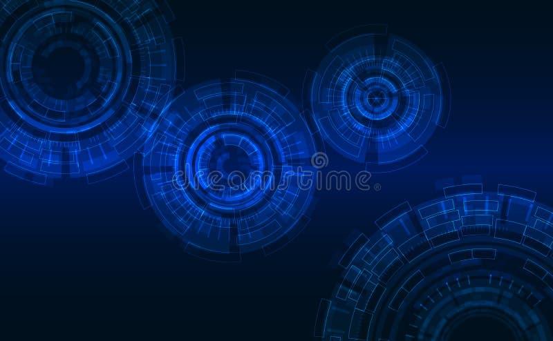 Cycles abstraits dans le style de pointe Fond bleu-foncé, éléments rougeoyants illustration stock