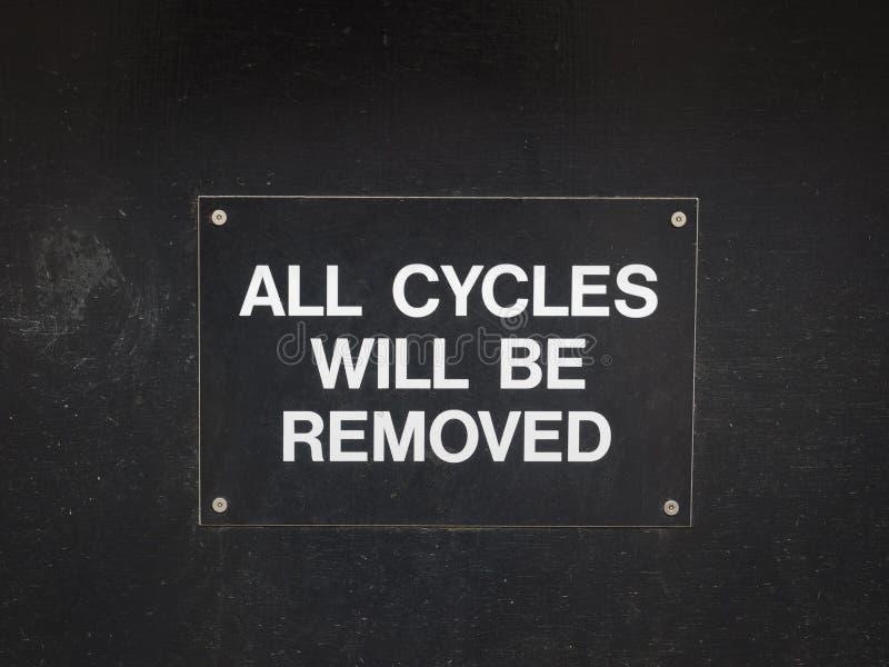 cycli verwijderd teken stock foto