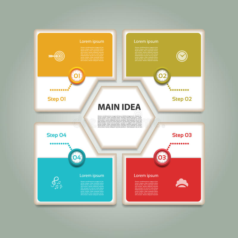 Cyclic diagram with four steps and icons. stock illustration