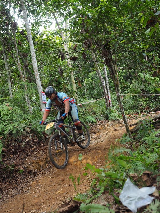 cyclin do homem durante uma raça do Mountain bike fotografia de stock