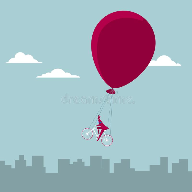 Cycling in the air. Isolated on blue background stock illustration