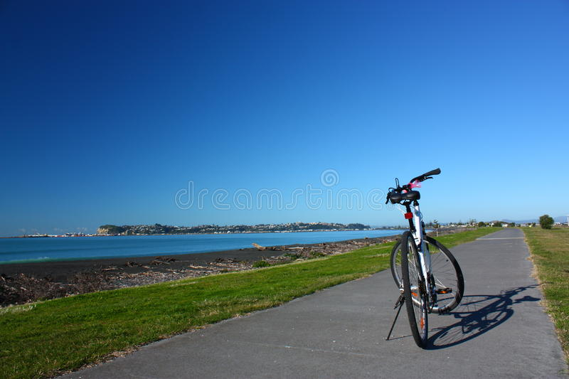Cycling along the beachfront of Napier, NZ royalty free stock photos