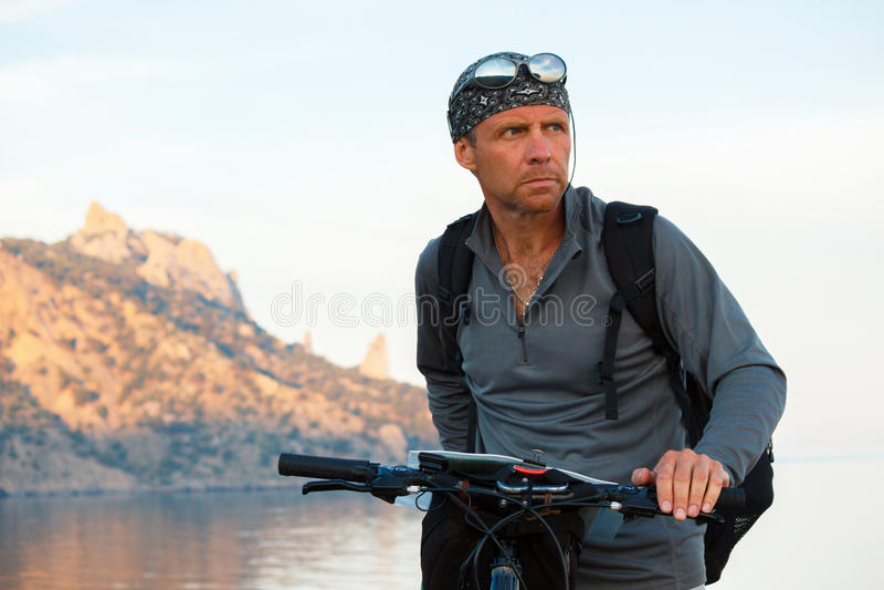 Cycling along the coast royalty free stock photo