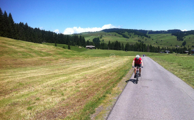 Cycling in the Alps stock photography