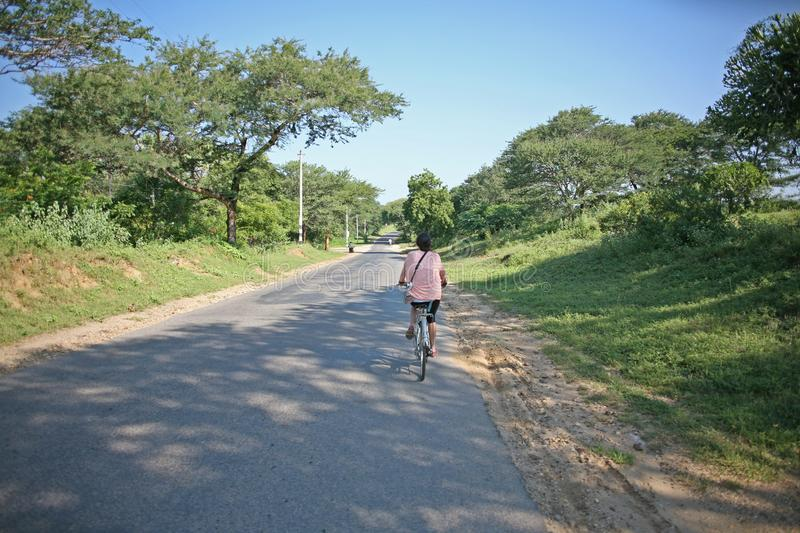 Cycling around Bagan royalty free stock photo