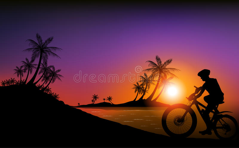 Cycling on the beach. Silhouettes of cycling on the beach, Variable in AI file royalty free illustration