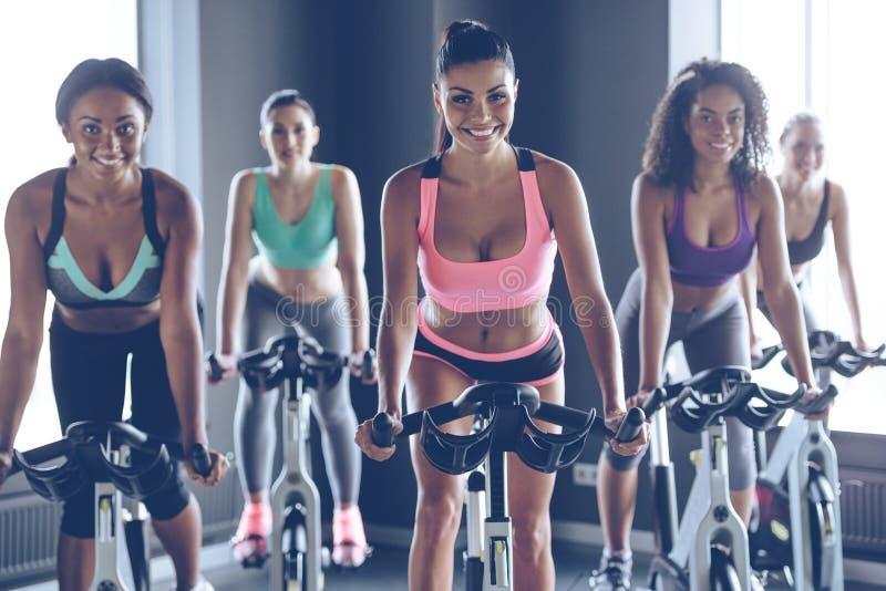 Cycling beauties. stock photos