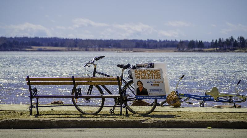 Cycling campaign of Simone Webster, NDP candidate in the P.E.I. election stock images