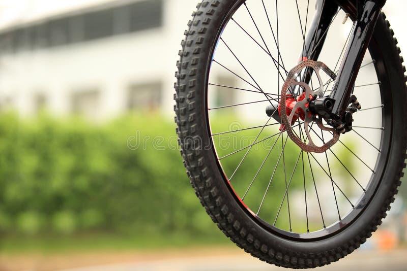 Cycling. Closeup of new bike tire stock image