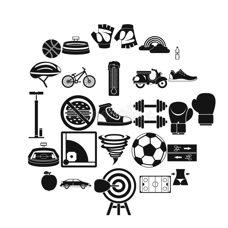 Cycling clothes icons set, simple style royalty free illustration