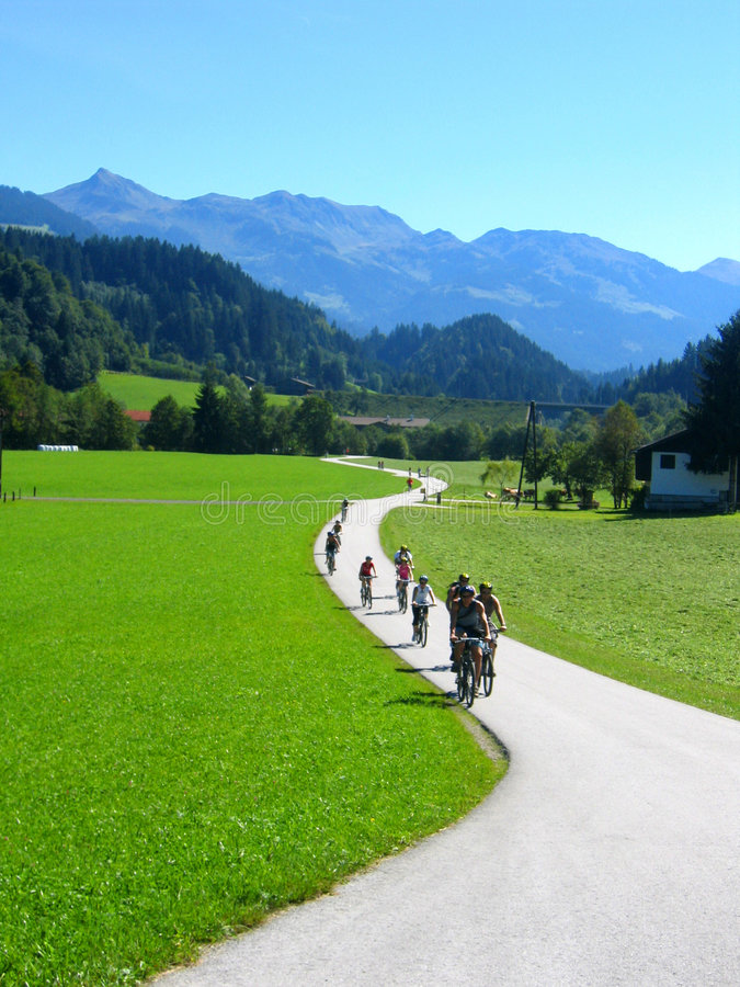 Cycling in the country. Mountain biking in the austrian mountains, austria
