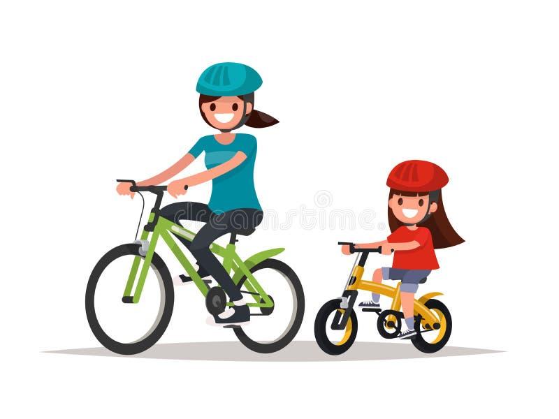 cycling De moeder en de dochter berijden fietsen Vectorillustrati stock illustratie