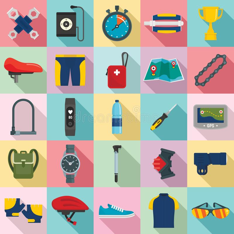 Cycling equipment icons set, flat style royalty free illustration