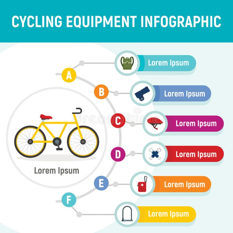 Cycling equipment infographic, flat style royalty free illustration