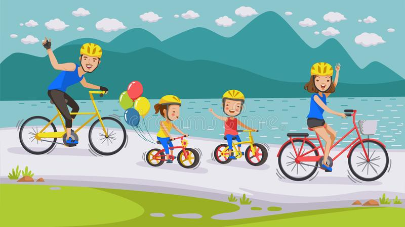 Cycling Family stock illustration