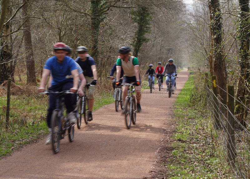 Cycling group. Mixed group of cyclists on a cycle path