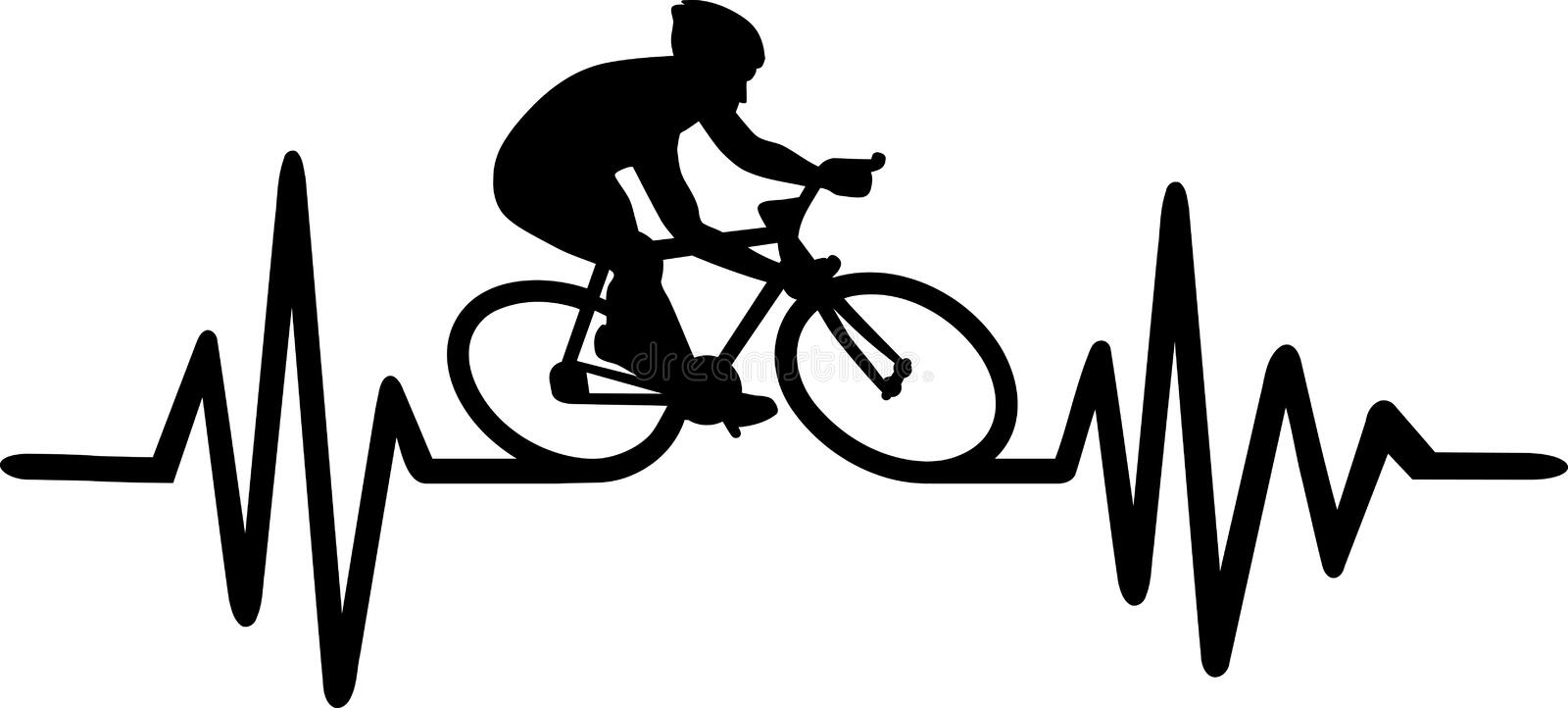 Cycling heartbeat pulse. Heartbeat pulse line with bike stock illustration