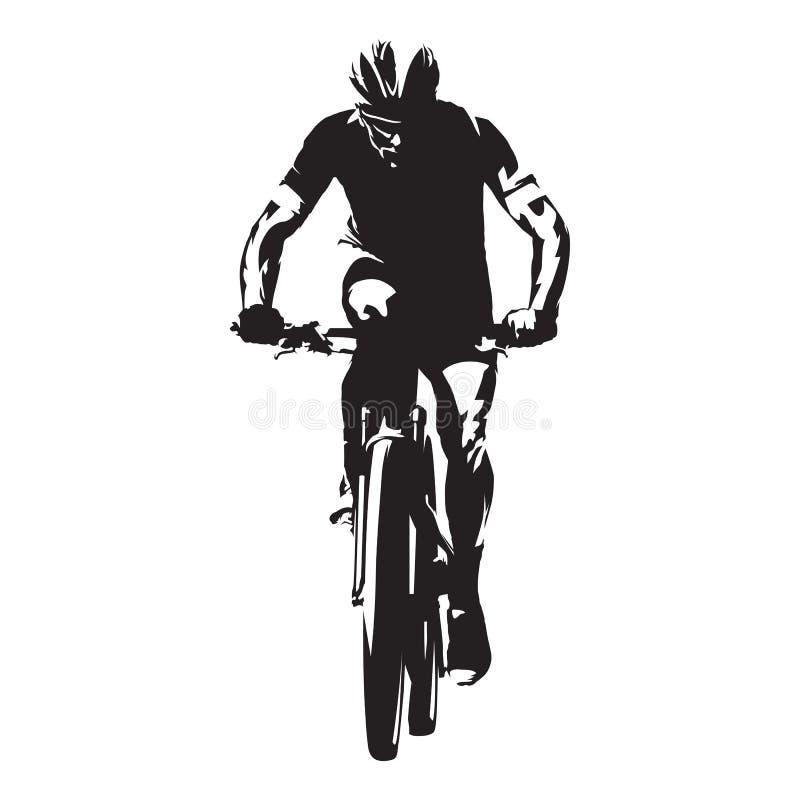 cycling Het vectorsilhouet van de bergfietser stock illustratie