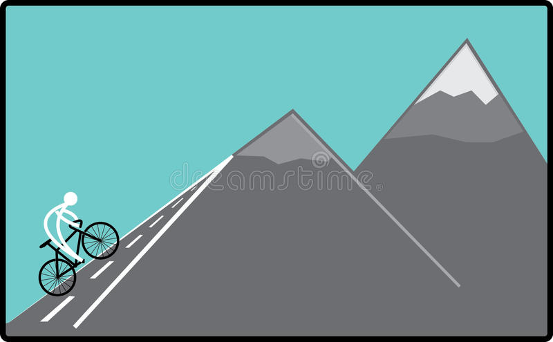 Cycling on the hill royalty free stock photos
