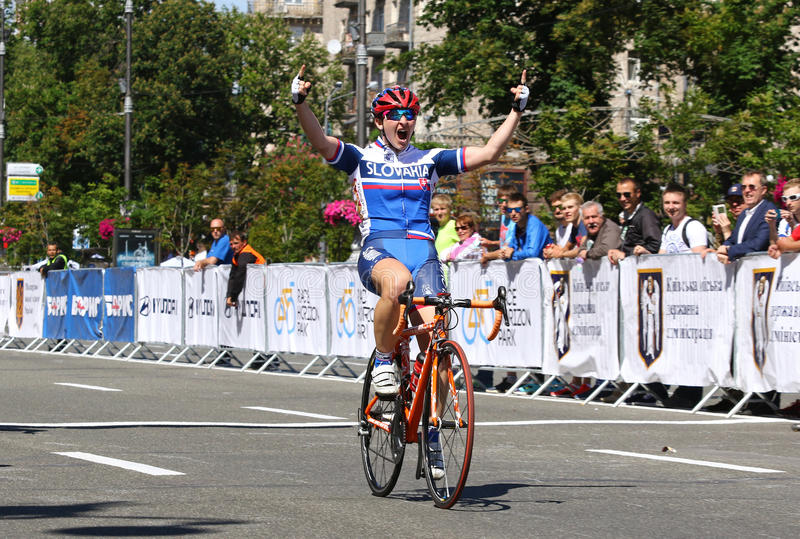 Cycling: Horizon Park Race Women Challenge in Kyiv, Ukraine. KYIV, UKRAINE - MAY 27, 2017: Alzbeta PAVLENDOVA SLOVAKIA NATIONAL TEAM, the Winner of the Horizon royalty free stock image