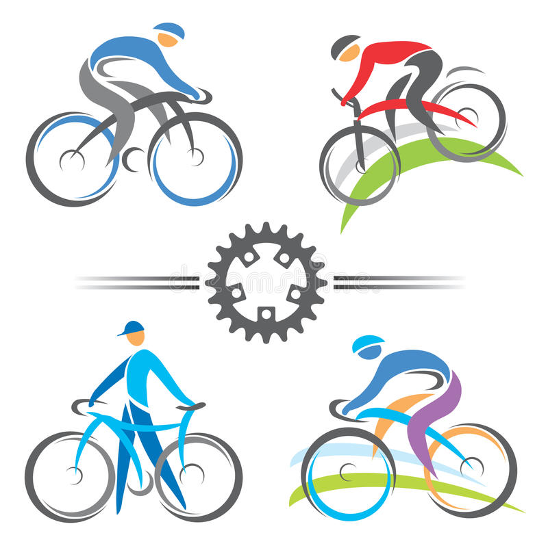 Cycling icons stock illustration