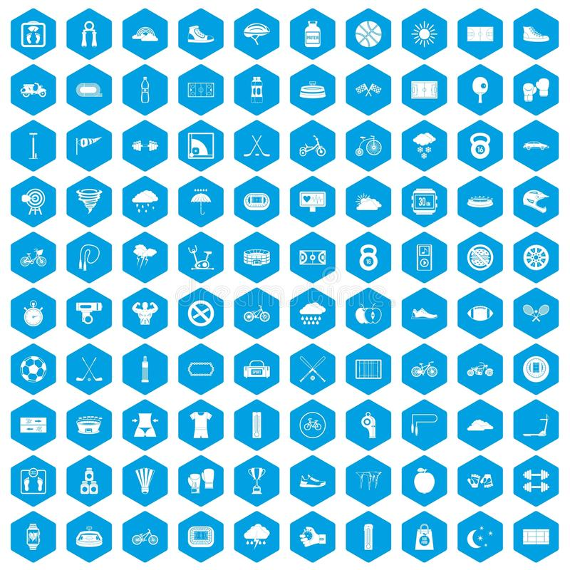 100 cycling icons set blue vector illustration