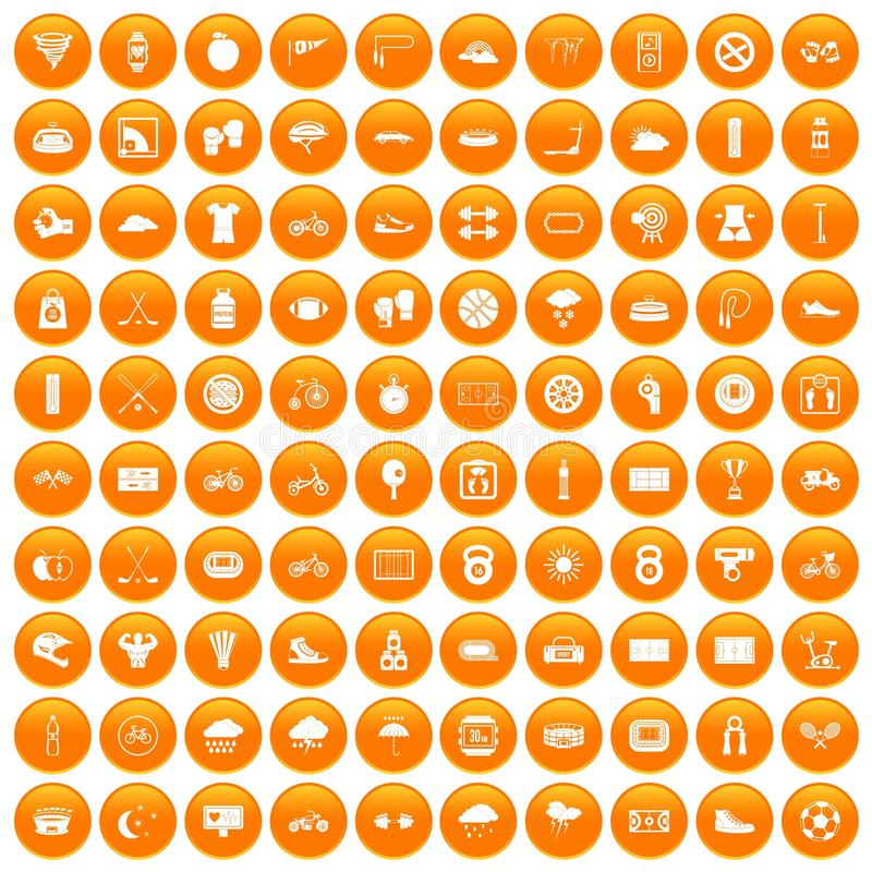 100 cycling icons set orange vector illustration