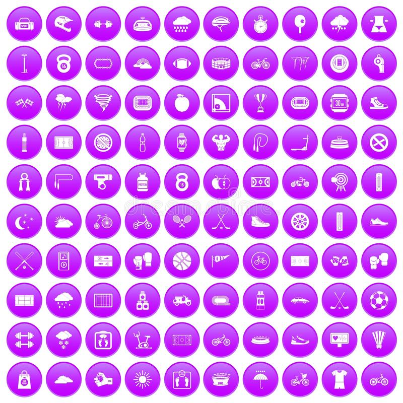 100 cycling icons set purple vector illustration