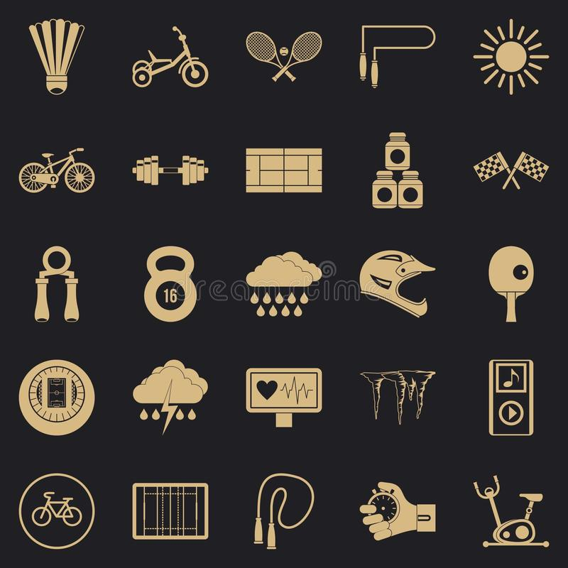 Cycling icons set, simple style royalty free illustration