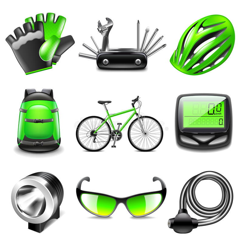 Cycling icons vector set vector illustration