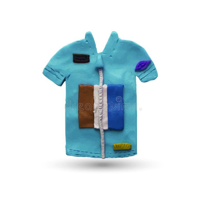 Cycling Jersey. Blue Cycling Jersey. Vector illustration. Plasticine modeling royalty free illustration