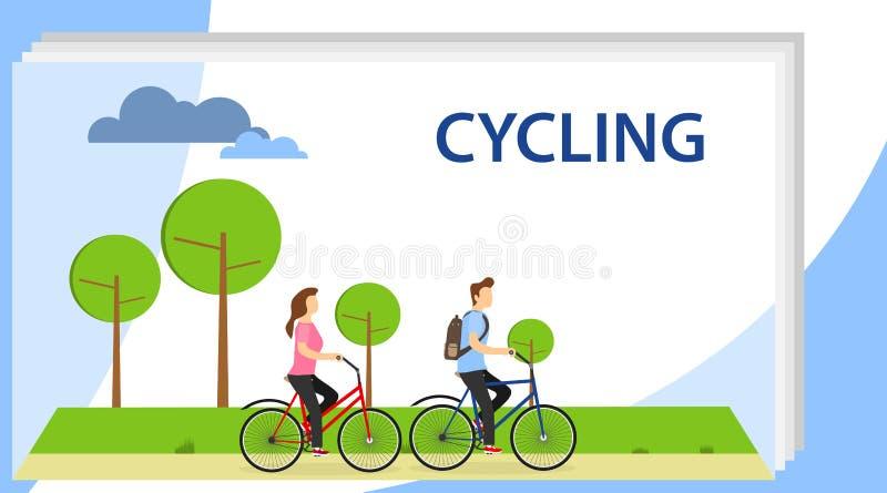 cycling Man en Vrouwenkarakters die Fiets op de Stadsachtergrond berijden Actieve Mensen die Fiets van Rit in het Park genieten royalty-vrije illustratie