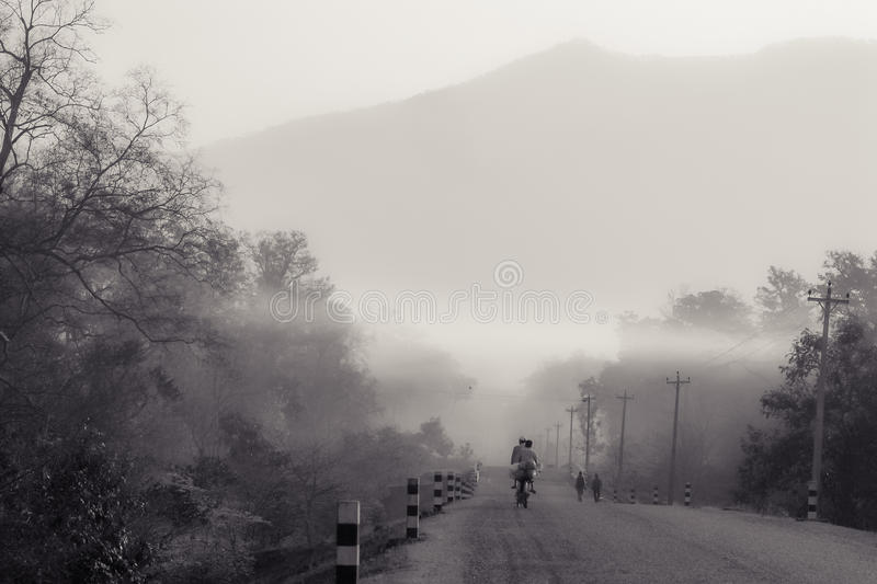 Cycling in the mist royalty free stock photos