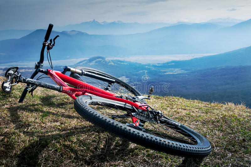 Cycling in mountains royalty free stock photos