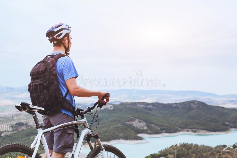 Cycling in mountains of Spain stock photos