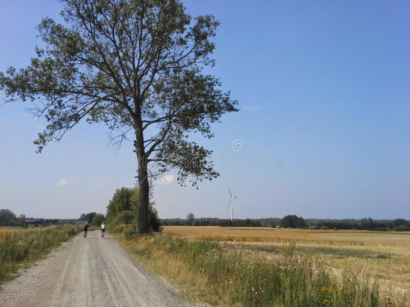 Cycling path in rural Poland royalty free stock image