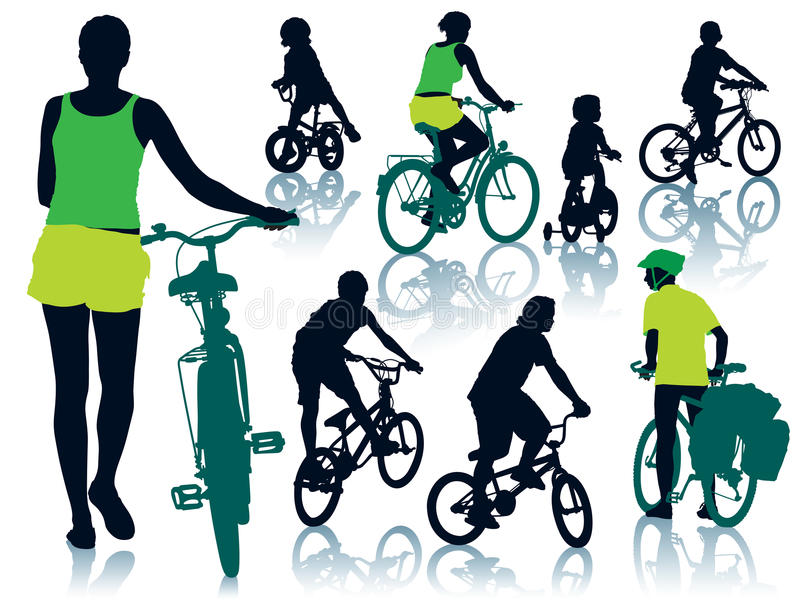 Cycling people royalty free illustration