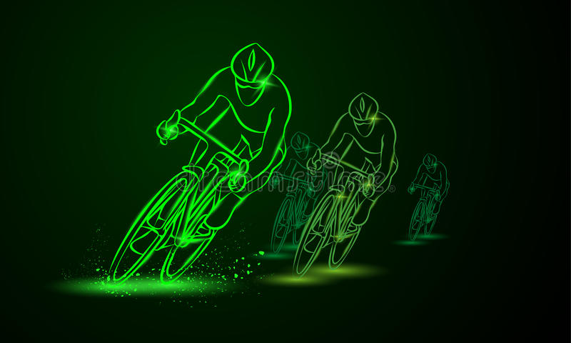 Cycling race. Front view. Bike competition. Group of cyclists stock illustration