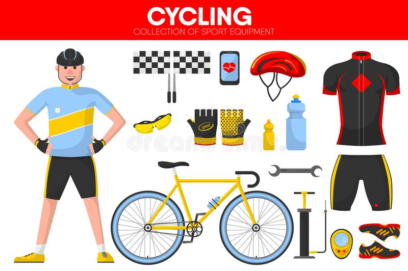 Cycling races sport equipment cycler garment uniform bicycle accessory vector icons set royalty free illustration