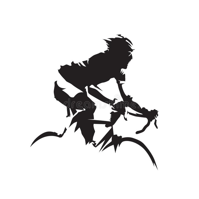 Free Cycling, Road Cyclist Side View. Isolated Vector Silhouette. Biking Logo Stock Photos - 196316203