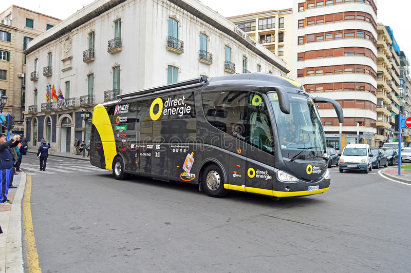 Cycling Road Racing Direct Energie Team Coach stock photo
