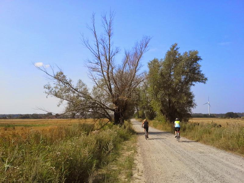 Cycling in rural Poland royalty free stock images