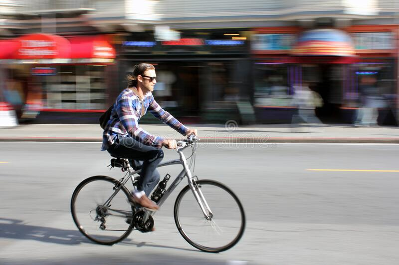 Cycling in San Francisco stock images