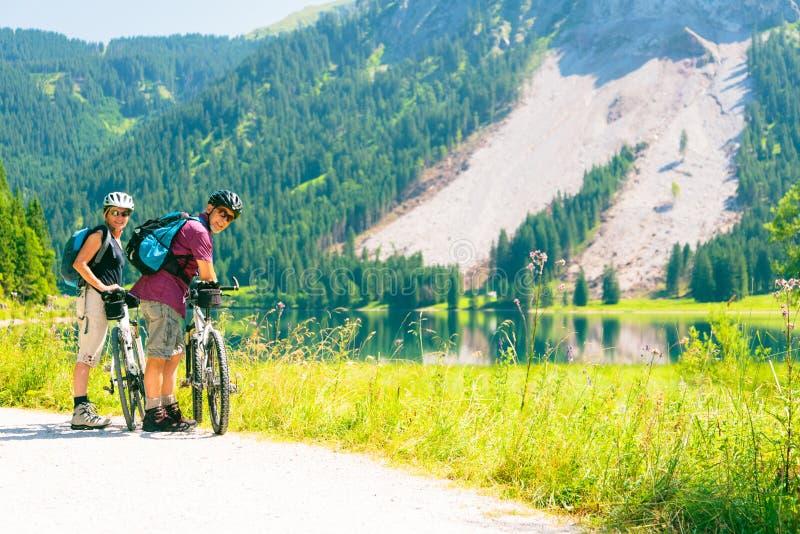 Cycling Senior Couple royalty free stock photos