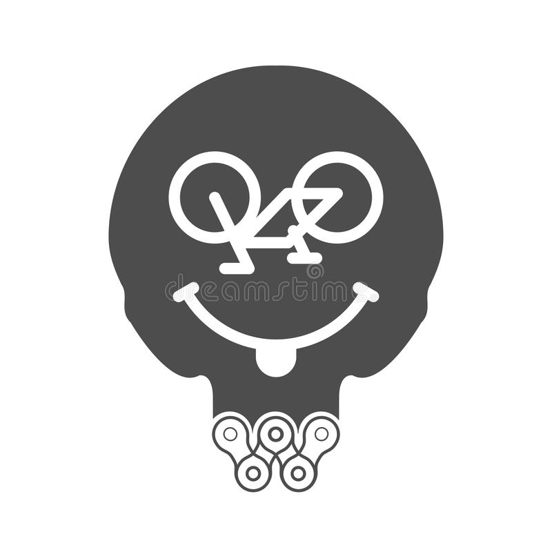 Cycling Smile, Positive Smiley or Smiling Face. Skull Vector Icon with Beard Made of Bike or Bicycle Chain. Monochrome T-Shirt Print royalty free illustration