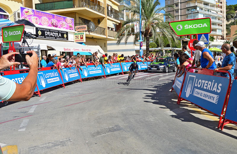 Cycling Time Trial Stage. An Movistar rider about to cross the finishing line in the TT time trial stage of the 2016 La Vuelta España in Calpe Spain stock image