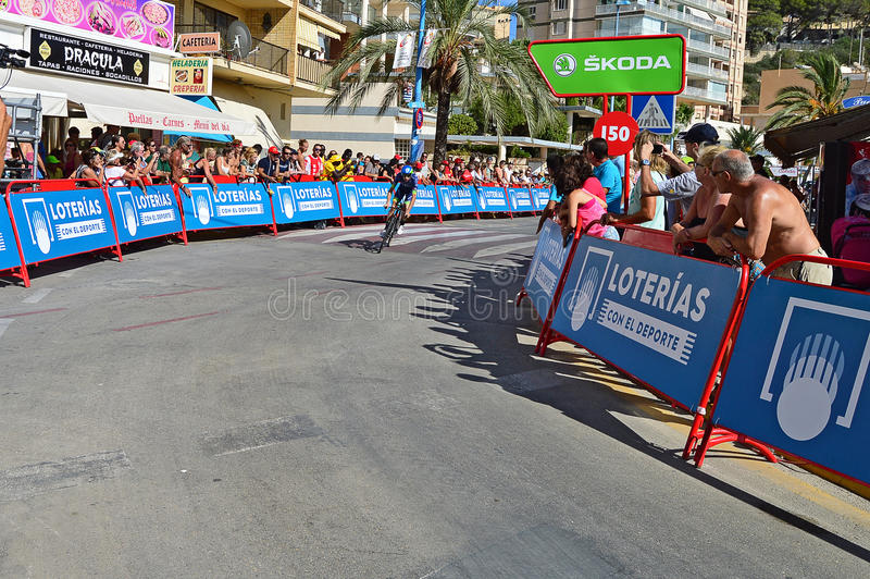 Cycling Time Trial Stage. An Orica Bike exchange rider about to cross the finishing line in the TT time trial stage of the 2016 La Vuelta España stock photography