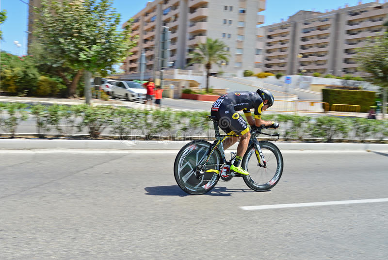 Cycling Time Trial. A Team Direct Energie rider speeds past during the time trial stage of the 2016 La Vuelta España royalty free stock image
