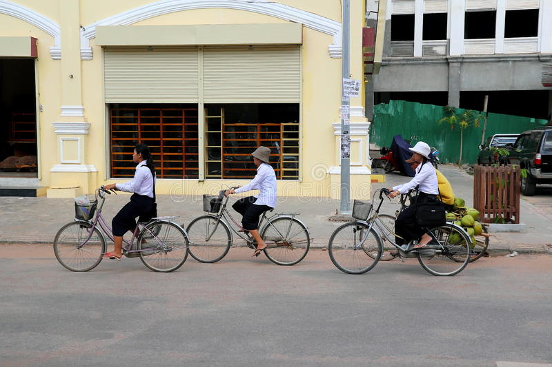 Download Cycling to School editorial stock photo. Image of documentary - 17442833