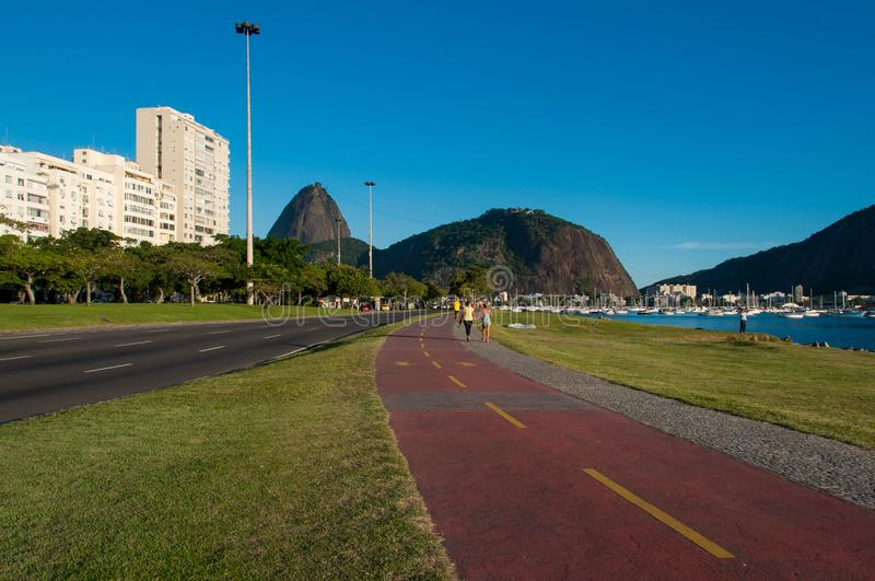 Cycling Track to the Sugarloaf Mountain. In Rio de Janeiro, Brazil royalty free stock images